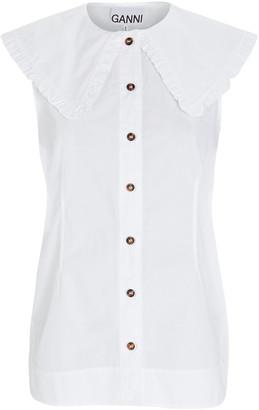 Ganni Ruffled Sleeveless Button-Down Shirt
