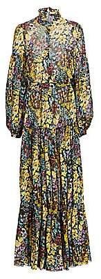Wandering Women's Highneck Floral Silk Maxi Dress