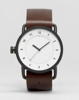 TID No 1 Leather Watch In Brown With White Face