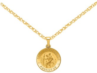 14K St. Christopher Medal Pendant with Chain