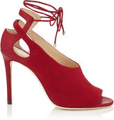 Jimmy Choo MACAW 100 Red Suede and Nappa leather Sandals