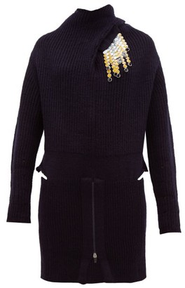 Toga Detachable-brooch Ribbed Wool-blend Sweater - Navy