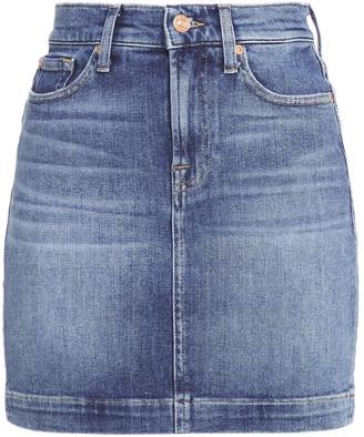 7 For All Mankind Faded Denim Mini Skirt