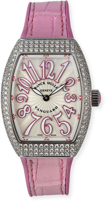 Franck Muller Lady Vanguard Watch with Diamonds & Pink Alligator Strap