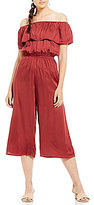 Billabong Some Day Off-The-Shoulder Ruffle Culotte Jumpsuit