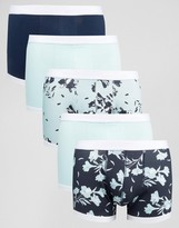 Asos Trunks With Floral Print & Contrast Binding 5 Pack