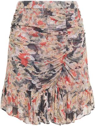 IRO Chronic Ruched Floral-print Crepon Mini Skirt