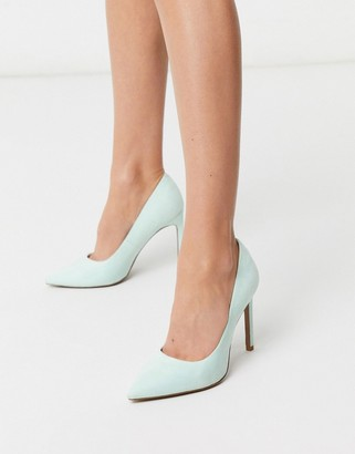 Asos DESIGN Porto pointed high heeled court shoes in peppermint green