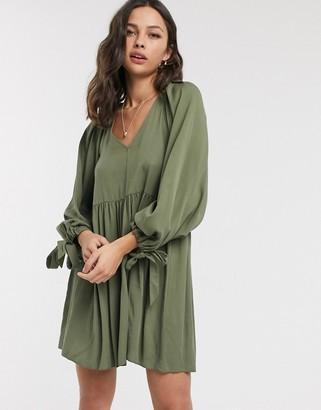 Asos Design DESIGN smock mini dress with pleat shoulder detail in khaki