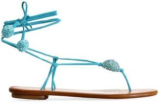 Aquazzura Jackie Ankle-Wrap Embellished Leather Thong Sandals