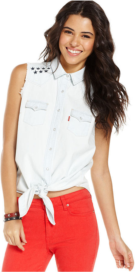 Levi's Top, Sleeveless Embroidered Tie-Front
