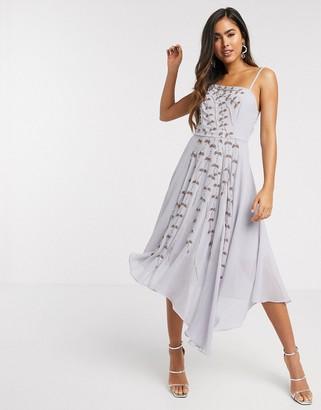 ASOS DESIGN asymmetric embellished trailing floral cami midi dress in lilac