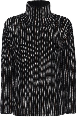 Ermanno Scervino Crystal Embellished Knit Wool Turtleneck