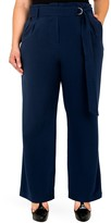 Standards & Practices Franchesca Belted Straight Leg Paper Bag Pants (Plus Size)
