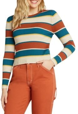 Dickies Juniors' Striped Ribbed Crewneck Sweater