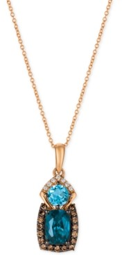LeVian Le Vian Chocolatier Blue Topaz (2 ct. t.w.) and Diamond (3/8 ct. t.w.) Pendant Necklace in 14k Rose Gold, Created for Macy's