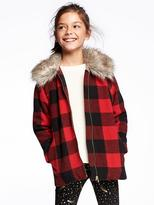 Old Navy Faux-Fur-Trim Plaid Jacket for Girls