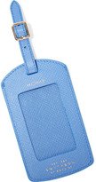 Smythson Panama Textured-leather Luggage Tag - Sky blue