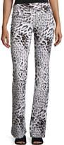 Norma Kamali Jersey High-Waist Boot Pants, Gray Leopard