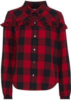 Frame Ruffle-trimmed Gingham Cotton-flannel Shirt