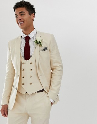 Asos Design DESIGN wedding super skinny suit jacket in stone linen