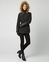 Le Château Nylon Puffer Coat with Faux Fur Trim