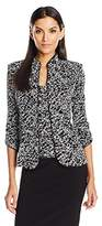 Alex Evenings Women's Printed Mandarin Neck Twinset