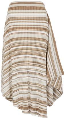 J.W.Anderson Brown striped draped wool midi skirt