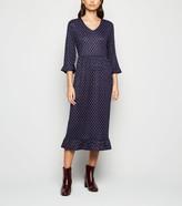 New Look JDY Spot Ruffle Midi Dress