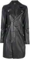 Theory long leather jacket - women - Lamb Skin/Rayon - S