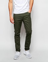 Asos Skinny Pants In Dark Khaki