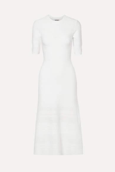Jason Wu Pointelle-trimmed Stretch-knit Midi Dress - Ivory