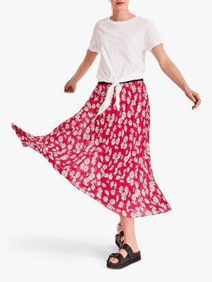 Hush Ossie Floral Midi Skirt, Red