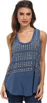 Rebecca Taylor Women's Sleeveless Studded Tank Top Blue Blouse