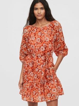 Gap Three-Quarter Sleeve Flounce Mini Dress