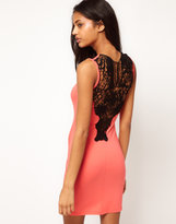 Paprika Crochet Back Jersey Body-Conscious Dress