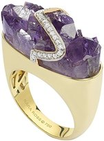 Kara Ross Pangea Wide Gemstone Ring with Amethyst and Diamonds set in 18k Gold