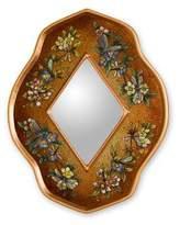 Artisan Crafted Floral Reverse Painted Glass Mirror, 'Golden Summer Garden'