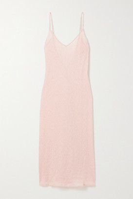 POUR LES FEMMES Crinkled Cotton-gauze Nightdress - Pink