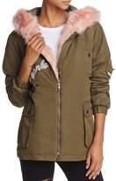 Vintage Havana Fur-Trimmed Patch Parka Jacket