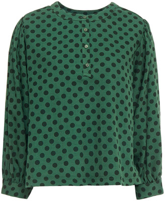 American Vintage Polka-dot Cotton And Wool-blend Twill Blouse