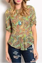Ceres Peplum Paisley Top