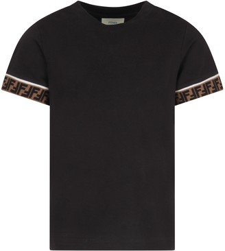 Fendi Black T-shirt With Double Ff For Kid
