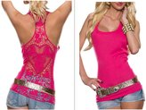 FIST BUMP Women Crochet Hollow Out Lace Back Tank Top Clubwear Halter Camisole (S, )
