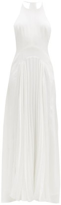 Galvan Provence Pleated-crepe Floor-length Gown - White