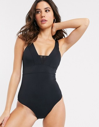 Accessorize plunge front with mesh insert swimsuit in black