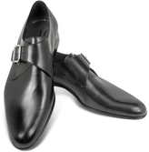 Moreschi Kobe Black Leather Monk Strap Shoes
