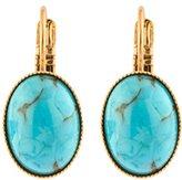 "Satellite Women's ""Stromboli"" Gold Plated Brass Oval Light Blue Stone Drop Earrings"