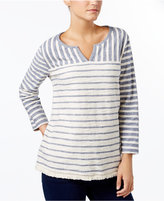 Style&Co. Style & Co Striped Fringe-Hem Top, Only at Macy's