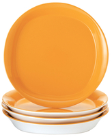 Rachael Ray Dinnerware Round & Square Collection 4-Piece Set of 8.5-Inch Salad/Dessert Plates, Yellow